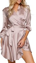 Simplee Apparel Women's 3/4 Sleeve V Neck Satin Nightgown Wrap Dress Purple