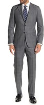 Hickey Freeman Milburn IIM Series Light Grey Plaid Two Button Notch Lapel Suit