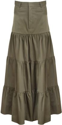 MATIN Long Gathered Tiered Skirt