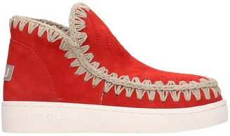 Mou Summer Eski Low Heels Ankle Boots In Red Suede