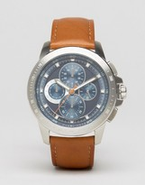Michael Kors Ryker Chronograph Leather Watch In Tan MK8518