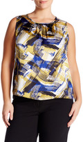Nine West Printed Pleated Blouse (Plus Size)
