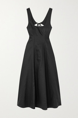 Zimmermann Lulu Open-back Linen Midi Dress - Black