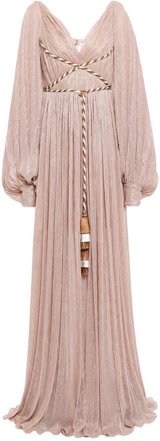 Peter Pilotto Lace-up Tassel-trimmed Metallic Plisse-jersey Gown