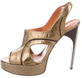 Lanvin Metallic Peep-Toe Pumps
