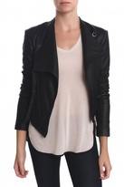 HELMUT Washed Leather Cropped Jacket Black