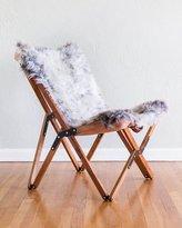 Texas Rover Company Dollie Natural Silver Blue Sheepskin Chair