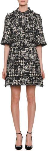 Dolce & Gabbana Elbow-Sleeve Tweed Jacket