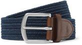 Polo Ralph Lauren 3.5cm Navy Leather-trimmed Woven Belt - Navy
