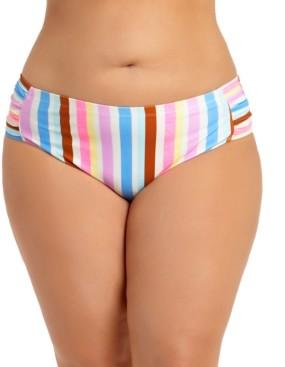 California Waves Trendy Plus Size Striped Bikini Bottoms, Created for Macy's Women's Swimsuit