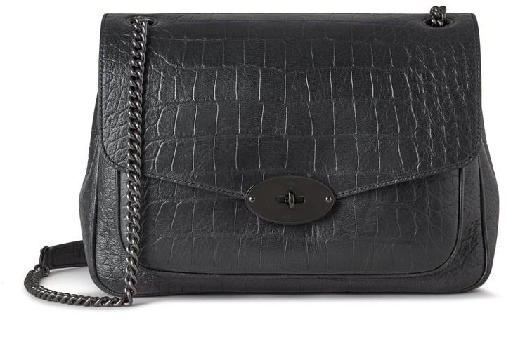 Mulberry Darley Shoulder Bag Black Soft Printed Croc