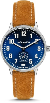 Jack Mason Men's Field Sub Second SS Navy Dial Tan Suede Strap Watch, 38mm