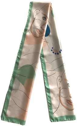 The Pathline Pistachio Green Printed Artistic Silk Long Scarf