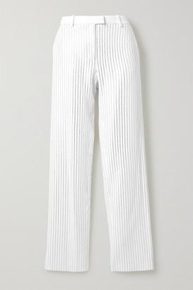 Michael Kors Crystal-embellished Crepe Wide-leg Pants - White