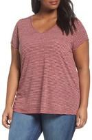Sejour Plus Size Women's Stripe V-Neck Tee