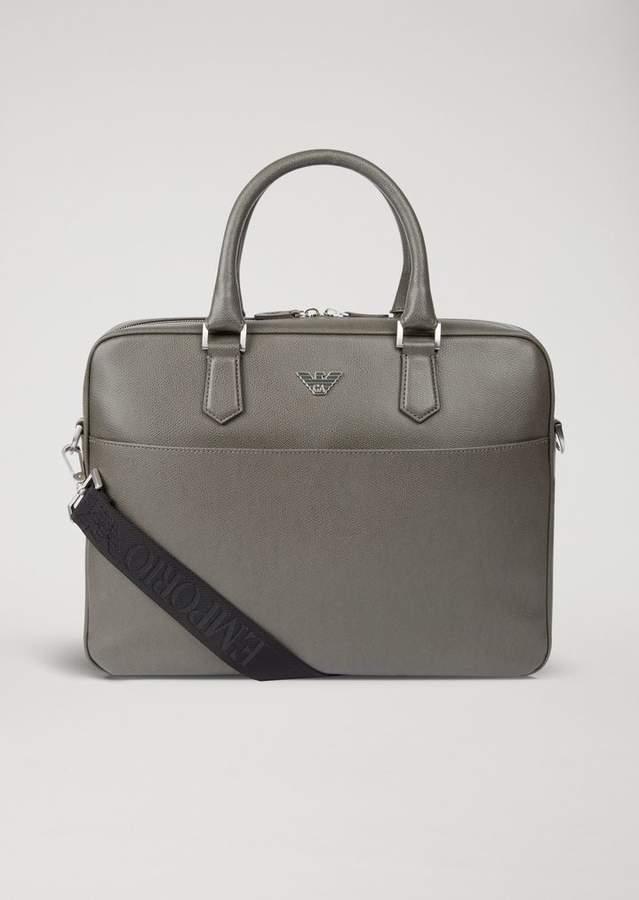 Emporio Armani Briefcase In Boarded Printed Leather
