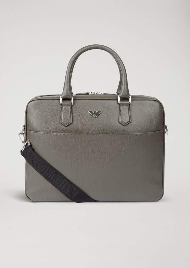 Emporio Armani Printed And Boarded Leather Briefcase