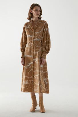 Cos Cotton Collarless Shirt Dress