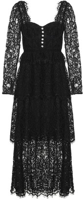 Self-Portrait Cotton-blend lace midi dress