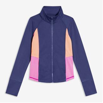 Joe Fresh Kid Girls' Active Colour Block Jacket, Light Navy (Size M)