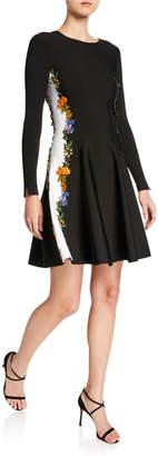 Oscar de la Renta Long-Sleeve Embroidered Side-Striped Dress