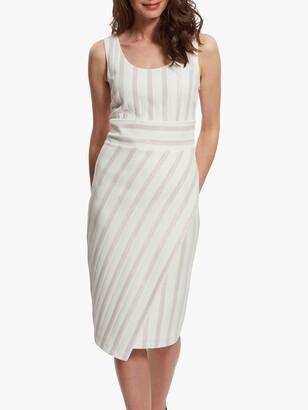 Gina Bacconi Alesta Stripe Knee Length Dress, Pink