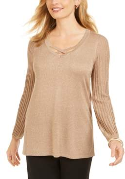 JM Collection Petite Pleated-Sleeve Sweater, Created For Macy's