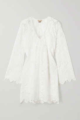 Melissa Odabash Elizabeth Scalloped Guipure Lace Mini Dress - White