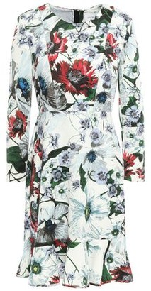 Erdem Fluted Floral-print Ponte Mini Dress