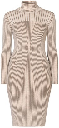Rumour London Cleo Oatmeal Two-Tone Ribbed Knit Dress