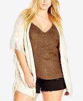 City Chic Plus Size Short-Sleeve Fringe Cardigan