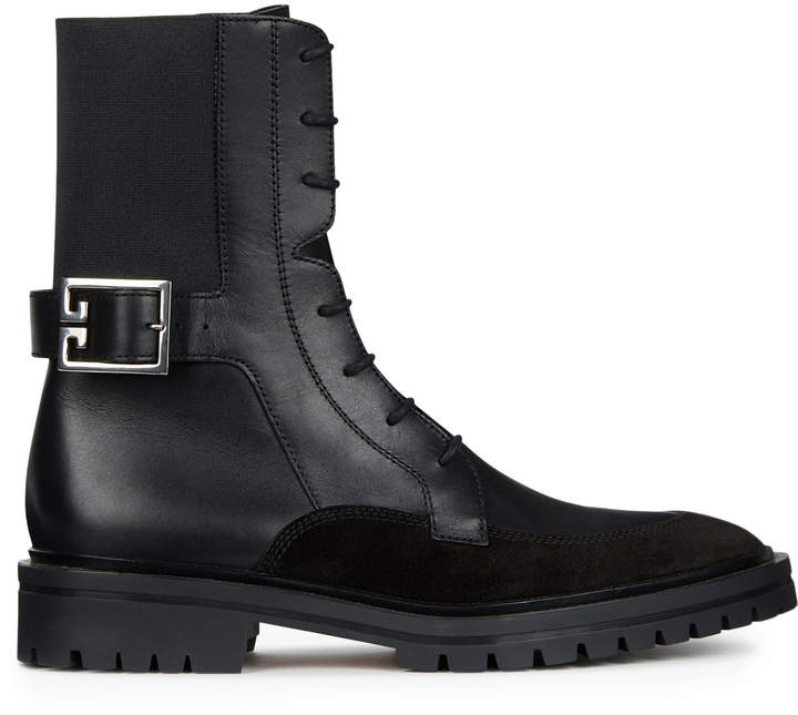 Givenchy Aviator Leather and Suede Lace-Up Boots
