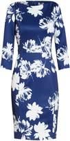 Gina Bacconi Brushed Flower Scuba Dress, Navy