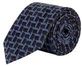 Burton Mens Montague Navy Geometric Silk Tie