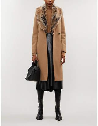 Ted Baker Corinna faux-fur trim wool-blend coat