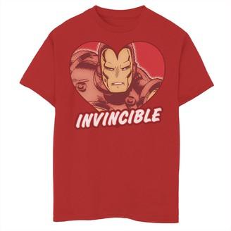 Marvel Boys 8-20 Iron Man Invincible Heart Valentine's Tee