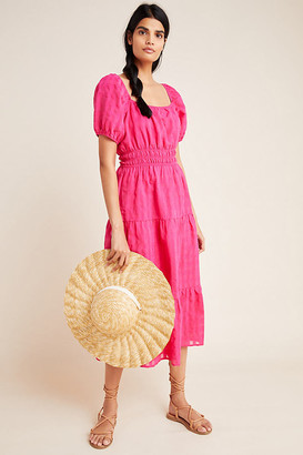 Anthropologie Francesca Tiered Midi Dress By in Pink Size XS