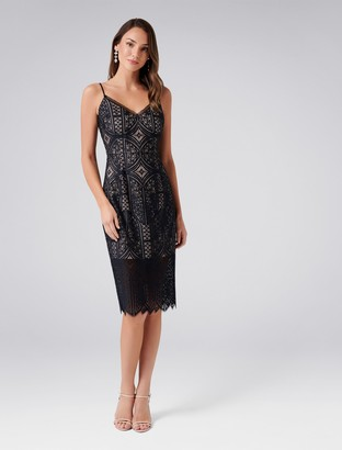 Forever New Eliza Lace Pencil Dress - Black - 4