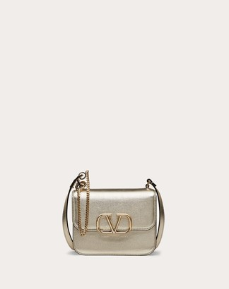 Valentino Small Vsling Shoulder Bag In Metallic Craquelure-effect Calfskin Women Sahara Calfskin 100% OneSize