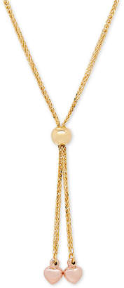 Italian Gold Two-Tone Heart Lariat Necklace in 14k Gold and Rose Gold