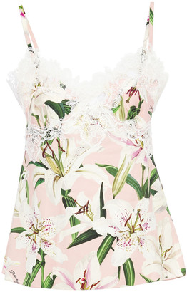 Dolce & Gabbana Guipure Lace-trimmed Floral-print Silk-blend Crepe Camisole