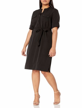 Anne Klein Women's Size Plus Pocket Front Belted Shirt Dress