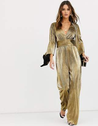 TFNC deep plunge pleated foiled jumpsuit in gold