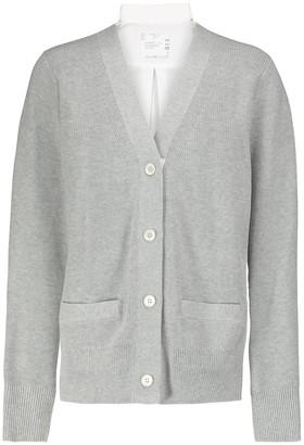 Sacai Ribbed cotton cardigan