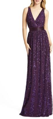 Mac Duggal Sequin Surplice Gown
