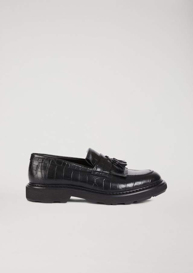 Emporio Armani Crocodile-Print Leather Loafers With Tassels