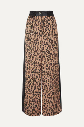 Sacai Leopard-print Satin And Chiffon Wide-leg Pants - Beige