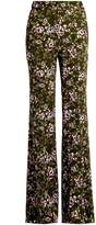Rochas Rose-print flared cady trousers