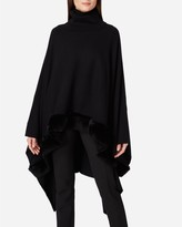 N.Peal Fur Edge Roll Neck Cashmere Poncho