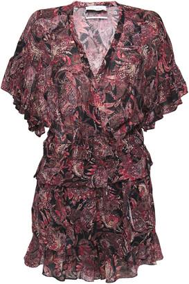 IRO Serene Ruffled Printed Cotton-gauze Playsuit